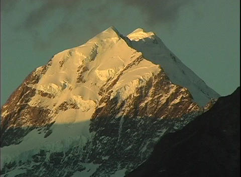Mount Cook, a majestic peak, stands out among the... Stock Video Footage
