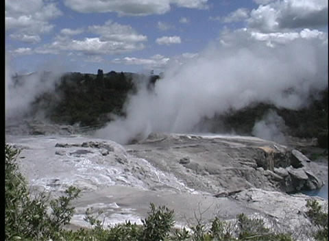 Small geyser erupts at Rotor in New Zealand Stock Video Footage