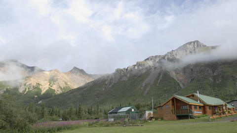 Time lapse of clouds blowing over Sheep Mountain Lodge, Alaska Footage