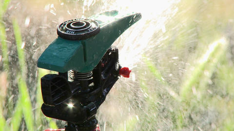 Close up of sprinkler spraying water in Oak View, California Footage