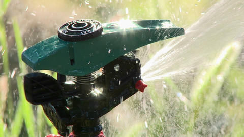 Close up of sprinkler spraying water in Oak View, California Stock Video Footage