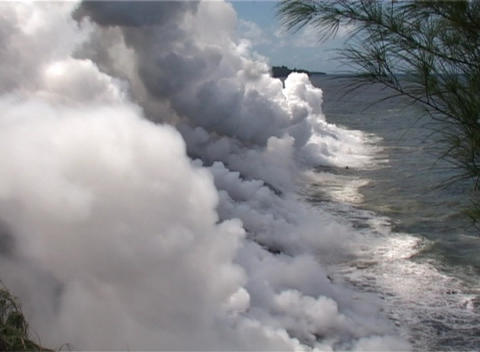 Lava flows into the ocean in a remarkable display of the birth of a Pacific island Footage