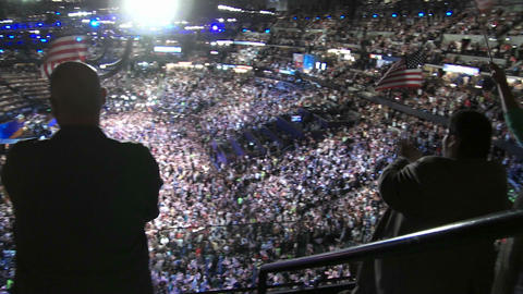 A packed stadium at Pepsi Center clap and cheer as Bill... Stock Video Footage