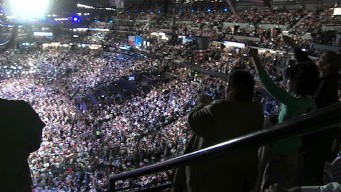 A packed stadium at Pepsi Center clap and cheer as Bill Clinton delivers a pro Barack Obama speech a Footage