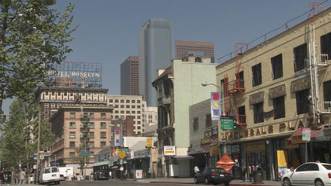 A view of Downtown Los Angeles California from the Fashion District Footage