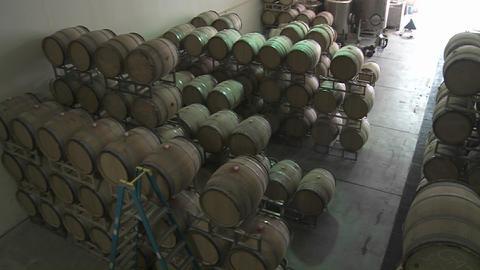 Pan across barrels of beer in a warehouse Stock Video Footage