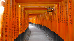 POV footage - Walking through torii gates at Fushimi-Inari Shrine, Kyoto, Japan Footage