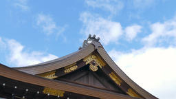 Temple rooftop detail and sky, Kyoto, Japan Footage