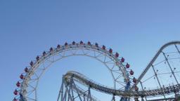Ferris Wheel against blue sky, Tokyo, Japan ภาพวิดีโอ