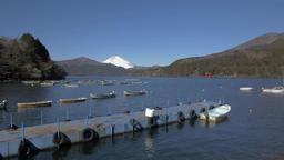 View of Mount Fuji and boats at Lake Ashi, Kanagawa Prefecture, Japan Footage