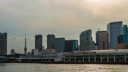Time-lapse footage of Tokyo tower and cityscape from Sumida river, Tokyo, Japan Footage