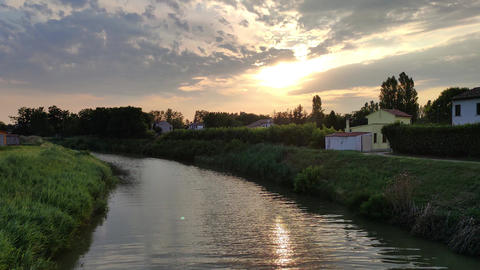Landscape of the Po valley with river 2 Live Action