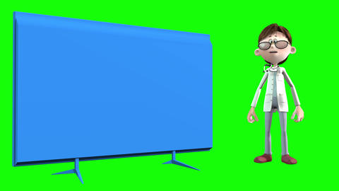793 4k Medicine 3D computer generated toon doctor lercturing with a TV monitor for his explanations Animation