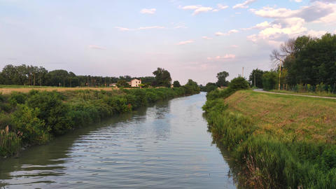 Landscape of the Po valley with river 3 Live Action