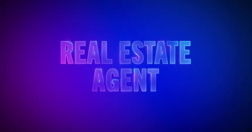 Real Estate Agent. Electric lightning words. Logotype Videos animados