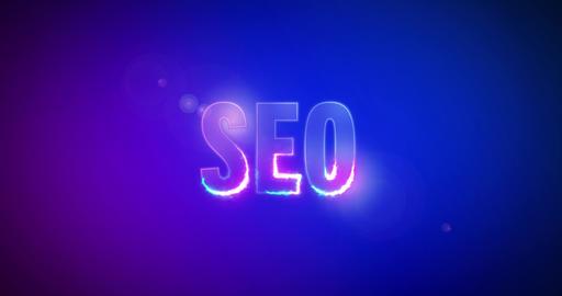 SEO. Electric lightning words. Logotype. Search Engine Optimization Animation