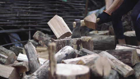 Man cuts tree outdoors in slow motion. Mans hands work with an ax. Lumberjack Live Action