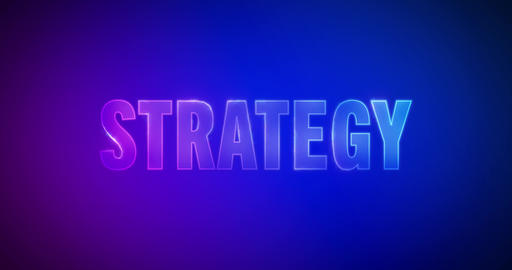 Strategy. Electric lightning words. Logotype Animation