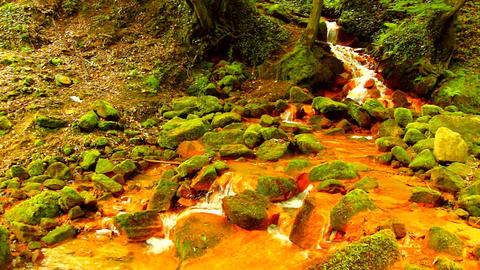 Small waterfall on iron ionts stream, mossy sandstone block and water is jumping down into small Live Action