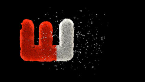 Animated hairy santa letters bouncing in to frame with snowflakes and alpha channel E Animation
