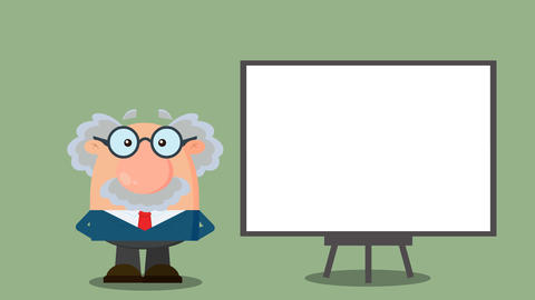 Professor Cartoon Character With Pointer Presenting On A Board Animation