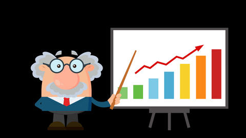 Professor Or Scientist Cartoon Character With Pointer Presenting A Progressive Chart Animation