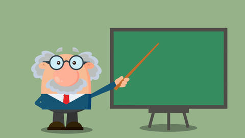 Professor Or Scientist Cartoon Character With Pointer Presenting On A Board Animation