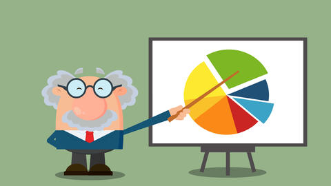 Professor Or Scientist Cartoon Character Pointing Progressive Pie Chart On A Board. 4K Animation