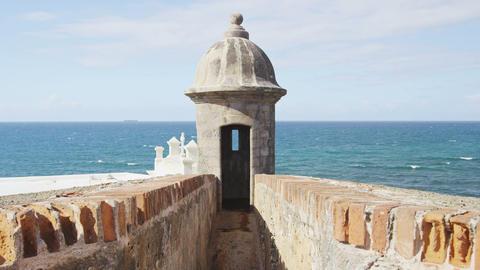 Puerto Rico tourist destination Landmark El Morro Watchtower or Garita Live Action