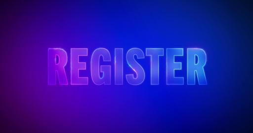 Register. Electric lightning words. Logotype Animation