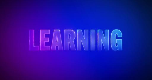 Learning. Electric lightning words. Logotype Animation