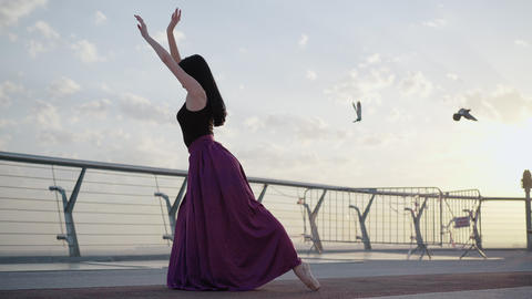 Wide shot of slim elegant ballerina bending back as birds flying away. Back side Live Action