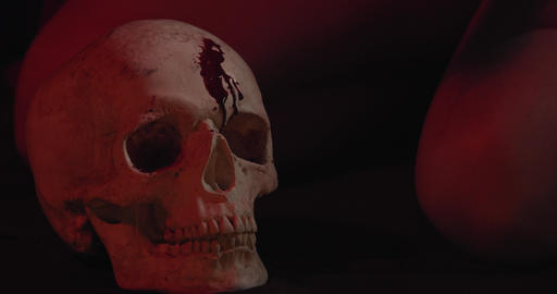 Blood is dripping on a skull, creepy occult ritual, woman in the background, 4k Live Action