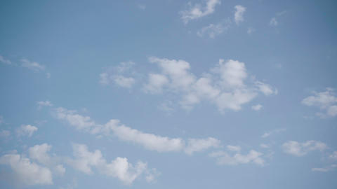 Sunny summer sky with spare clouds. Camera turning fast. Beauty in nature, warm Live Action