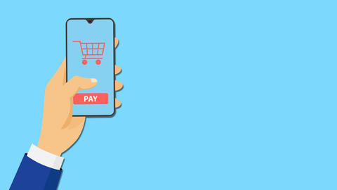 Online shopping with mobile app animation Animation