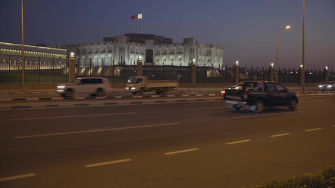 Doha cor-niche night shot showing Amiri Diwan (Doha palace) Live Action