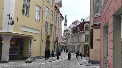 Tallinn, Estonia, People walking in front of a building Live Action