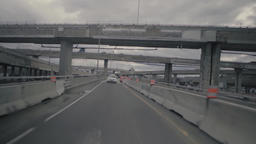 driving on a temporary interchange road Live Action