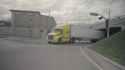 Semi trailer truck with yellow tractor Live Action