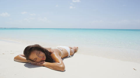 Serene Relaxing Woman Sunbathing On Beach Travel Vacation Holidays Live Action