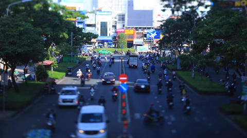 A miniature traffic jam at the busy town in Ho Chi Minh tiltshift Live Action