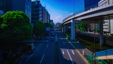 A timelapse of miniature downtown street at Sotobori avenue wide shot tiltshift Live Action