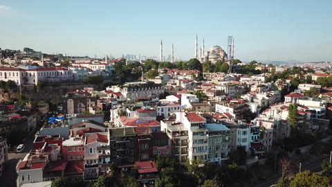 Istanbul Turkey Cityscape, Aerial of Blue Mosque Neighborhood and City Downtown Live Action