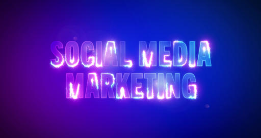 Social media marketing. Electric lightning words. Logotype Videos animados