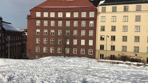 Helsinki, Finland, A building covered in snow Live Action