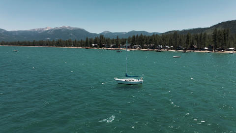 4K Tahoe Lake sail yacht Live Action
