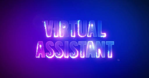 Virtual Assistant. Electric lightning words. Logotype Videos animados