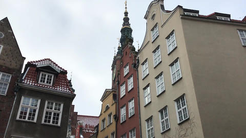 Gdansk, Poland, A castle with a clock on the side of a building Live Action