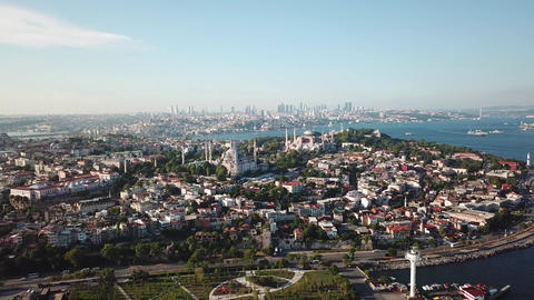 Istanbul Turkey Cityscape Aerial, Bopshorus Golden Horn and Mosques From Marmara Live Action