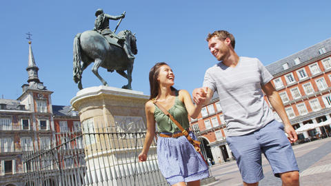 Couple in Madrid Spain on Plaza Mayor Live Action